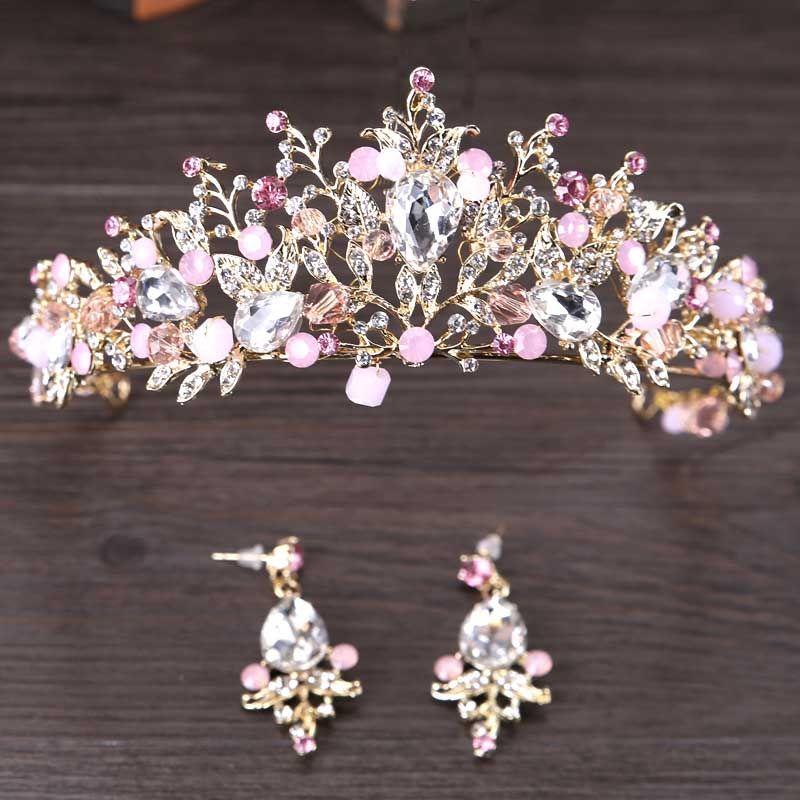 Accessoires de cheveux de mariage de luxe pour mariée couronne de diadèmes floraux en cristal rose brillant avec boucles d'oreilles Kits de bijoux de cheveux de princesse