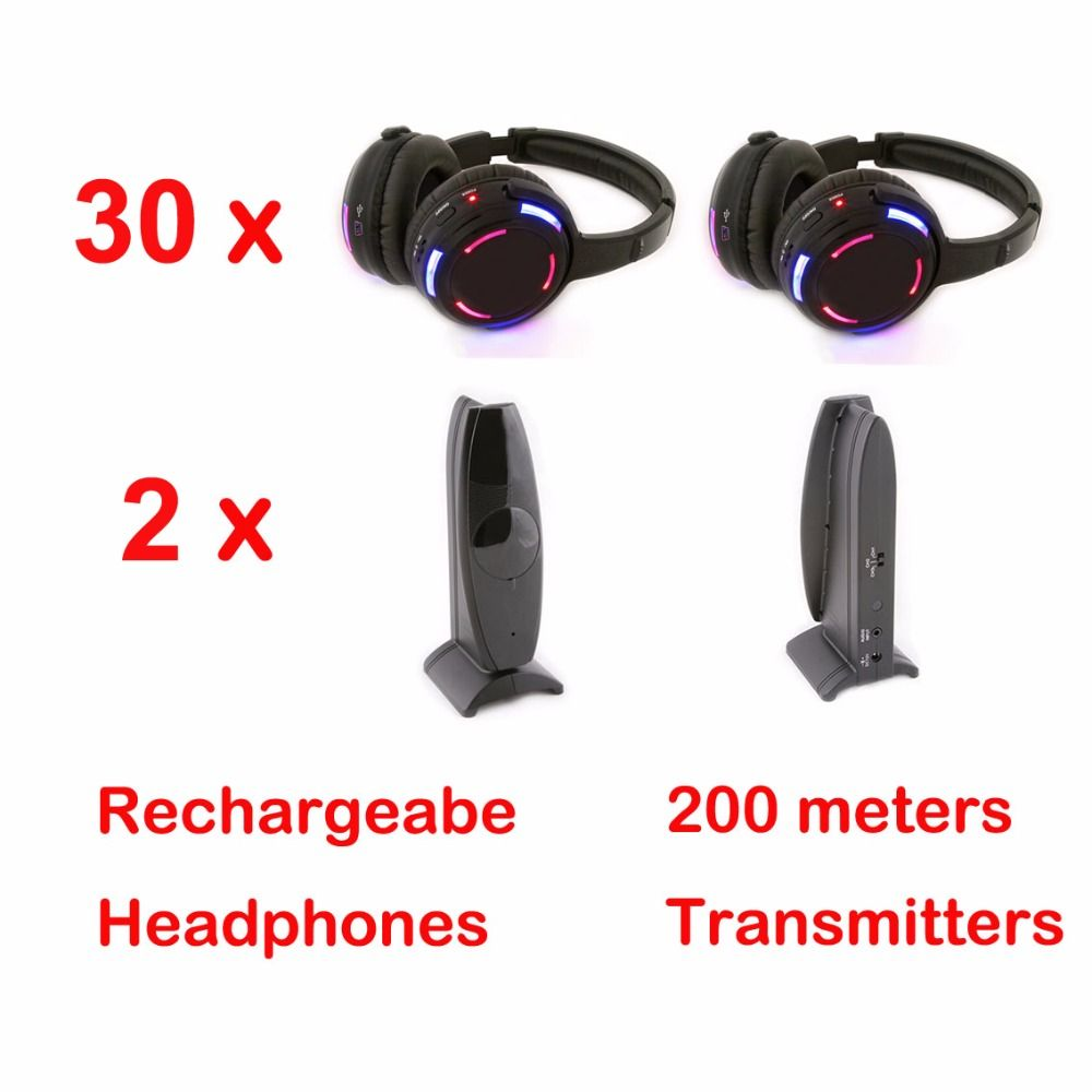 Professional Silent Disco system 30 LED flashing Headphones with 2 transmitters- RF Wireless For iPod MP3 DJ Music