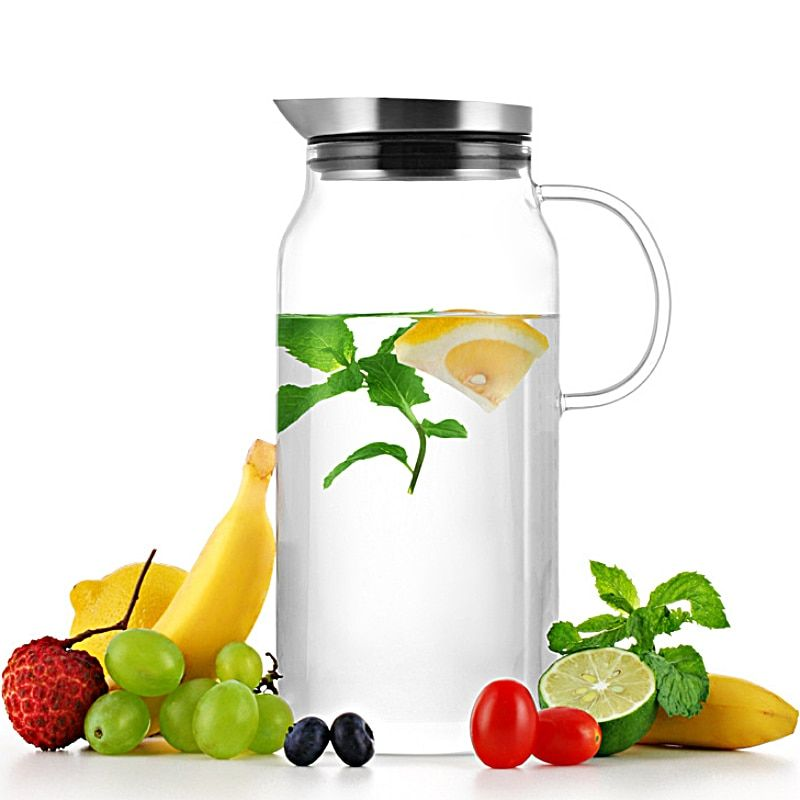 Heatproof Glass Teapot Glass Carafe with Stainless Steel Lid Hot or Iced Water Pitcher Create Your Ice Water Beverages SH263-213