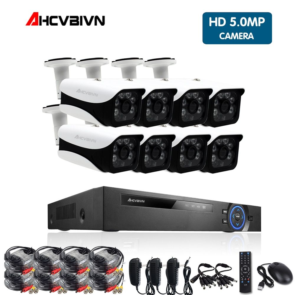 AHCVBIVN HD CCTV System 4MP 8CH AHD DVR Kit 8PCS 4.0mp 2560*1440 8PCS Array LEDS Sicherheit kamera Außen Surveillance Kit