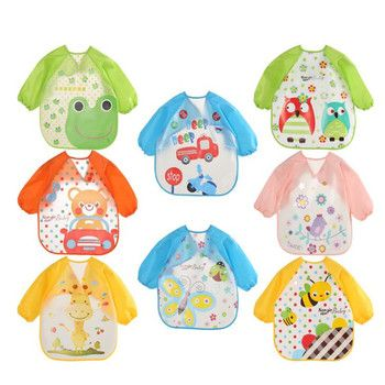 2019 new arrive baby bibs EVA kid eating clothing children's long sleeves Feeding Smock dining wear baby apron QD41