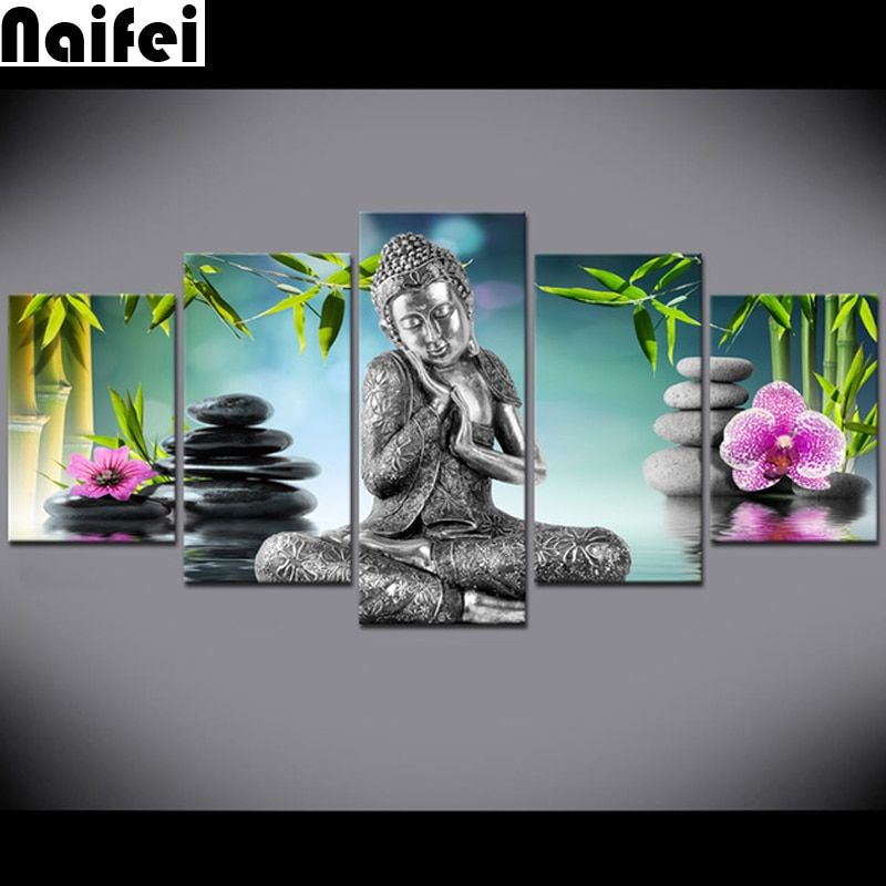 diy 5d full resin diamond painting 5 Piece Buddha orchid Bamboo Water Zen Wall stickers.christmas,decoration,diamond embroidery