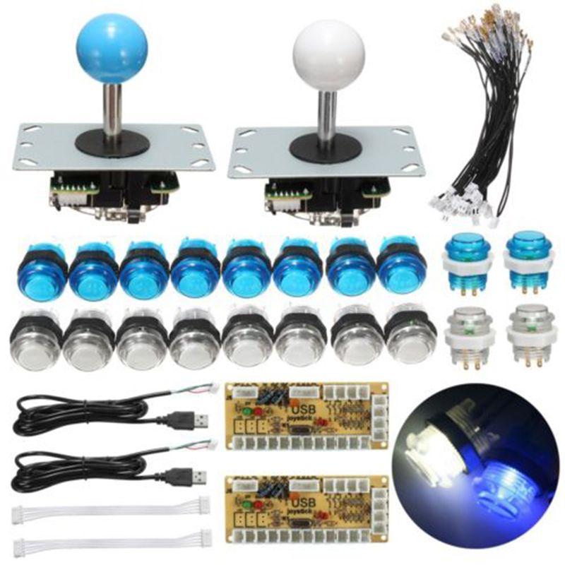 Mayitr DIY Arcade Set Kits Push Buttons Replacement Parts USB Controller Joystick + LED Push Button set 2 Player