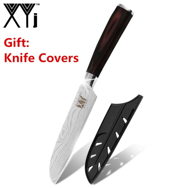 XYj damas veines cuisine couteau de cuisine outils accessoires 5 pouces couteau de cuisine japonais 7CR17 acier inoxydable Santoku couteau