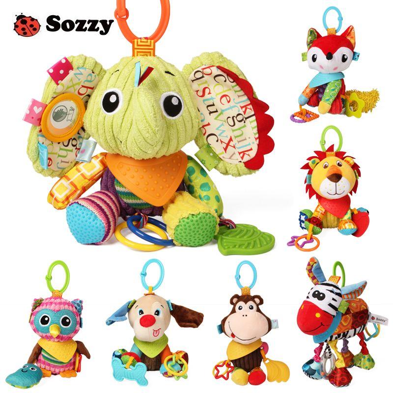 Sozzy belle peluche animaux en peluche texturé doux lit berceau poussette suspendus décor activité jeu amusant bébé jouets pour enfants Mobile