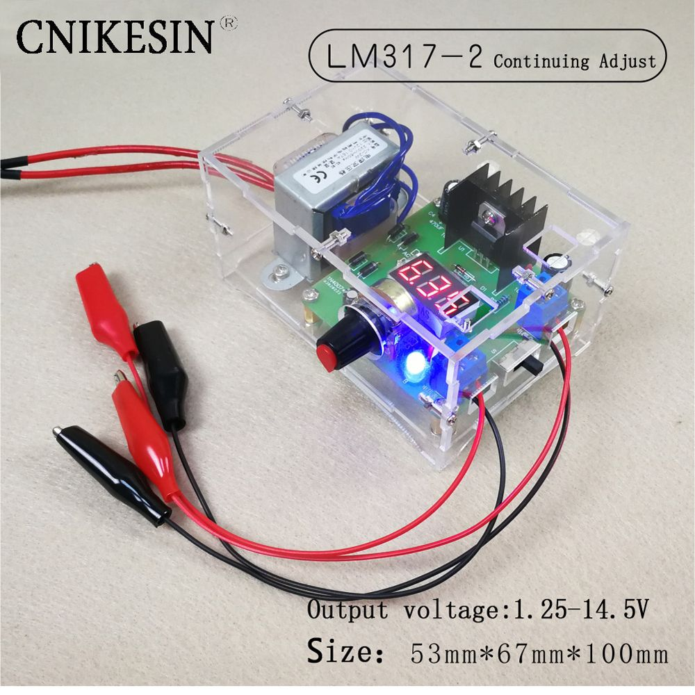 CNIKESIN Diy LM317-2 adjustable DC power supply voltage meter electronic training kit parts Continuing Adjust 1.25-14.5V