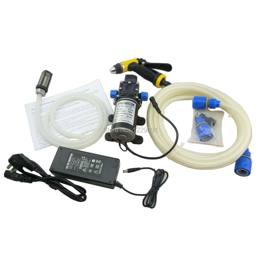Home electric 100w portable dc 12 volt car washer high pressure water pump 12v with power adaptor 100-240v