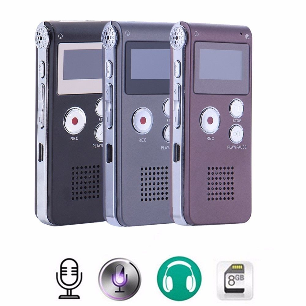 SHZONS Rechargeable 8GB Audio Sound Voice Recorder Dictaphone MP3 Player Recording with USB Charging Cable