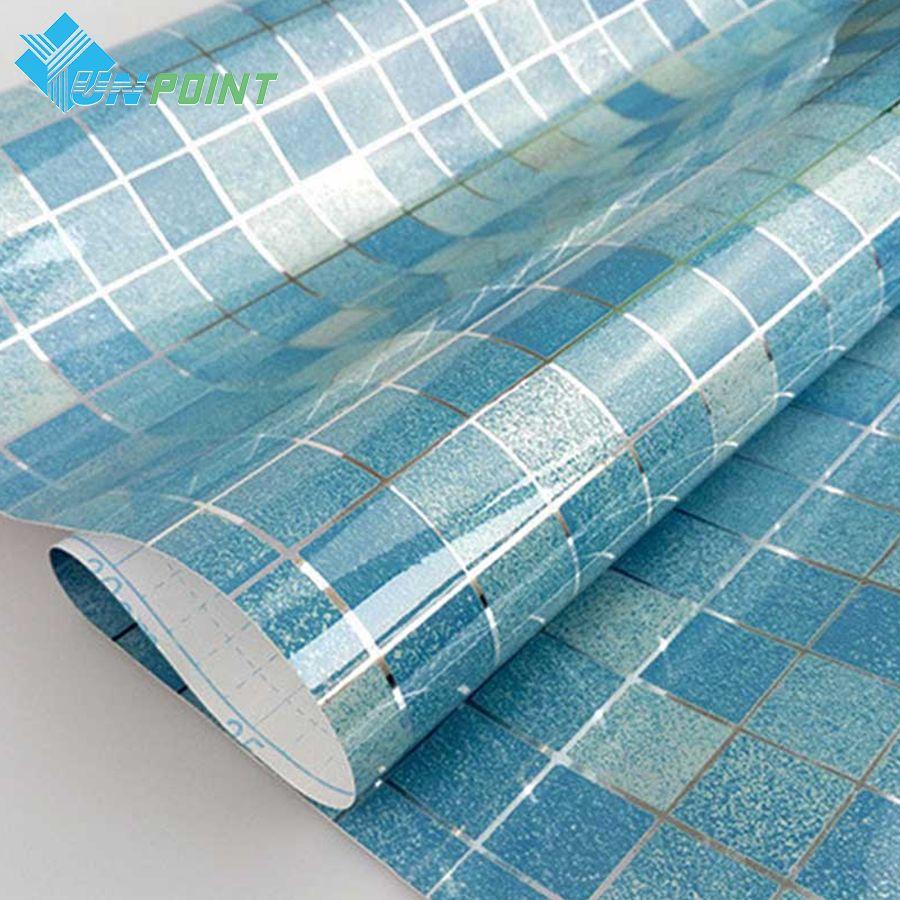 Autocollants de cuisine à l'épreuve de l'huile mosaïque Stickers muraux papier d'aluminium papier peint auto-adhésif pour salle de bain Film décoratif étanche