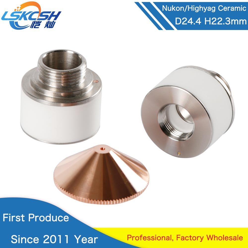 LSKCSH Laser Keramik Düse Halter Durchmesser 24,4mm Höhe 22,3mm Laser verbrauchs für Nukon Laser schneiden maschinen Highyag Kopf