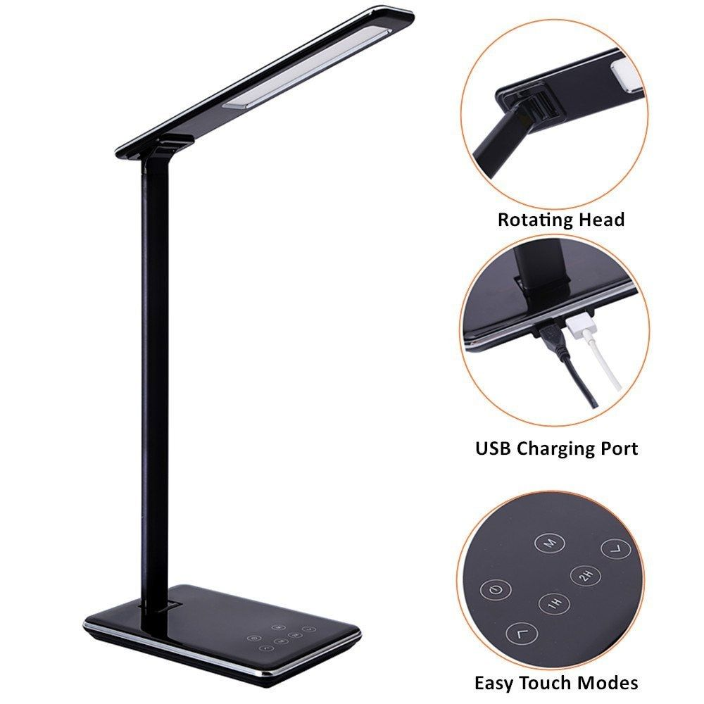 Folding Design LED Desk Lamp 5 Level Dimmable Touch Control Table Lamp Office Light with USB Charging port 1H/2H Auto Off Time