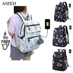 Student School Bags for Girl USB jack Laptop School Backpack women waterproof nylon traveling backpacks Chest bag combination