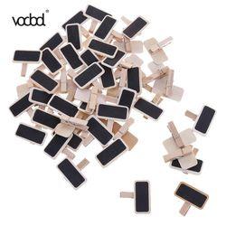 Vodool 50 unids/lote mini madera Pizarras Abrazaderas nota carpeta clip de la foto marca pizarras Clips para papel fotográfico DIY Decoración