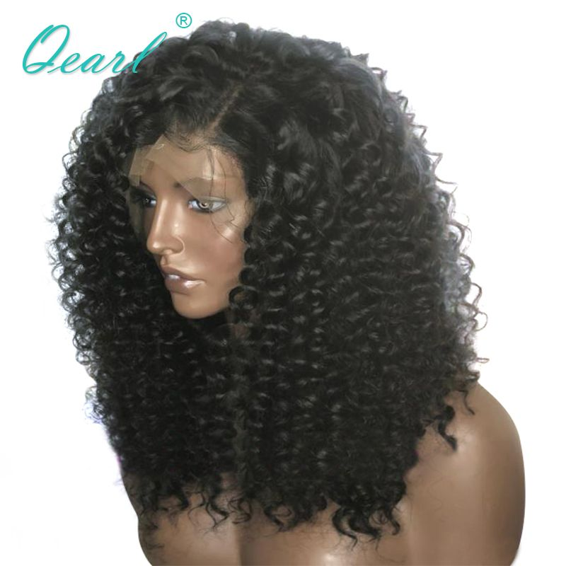 Qearl Heavy Thick Density Lace Front Wigs Side Part Kinky Curly Human Hair Wig 180% 200% 250% Density Brazilian Remy Hair Wigs