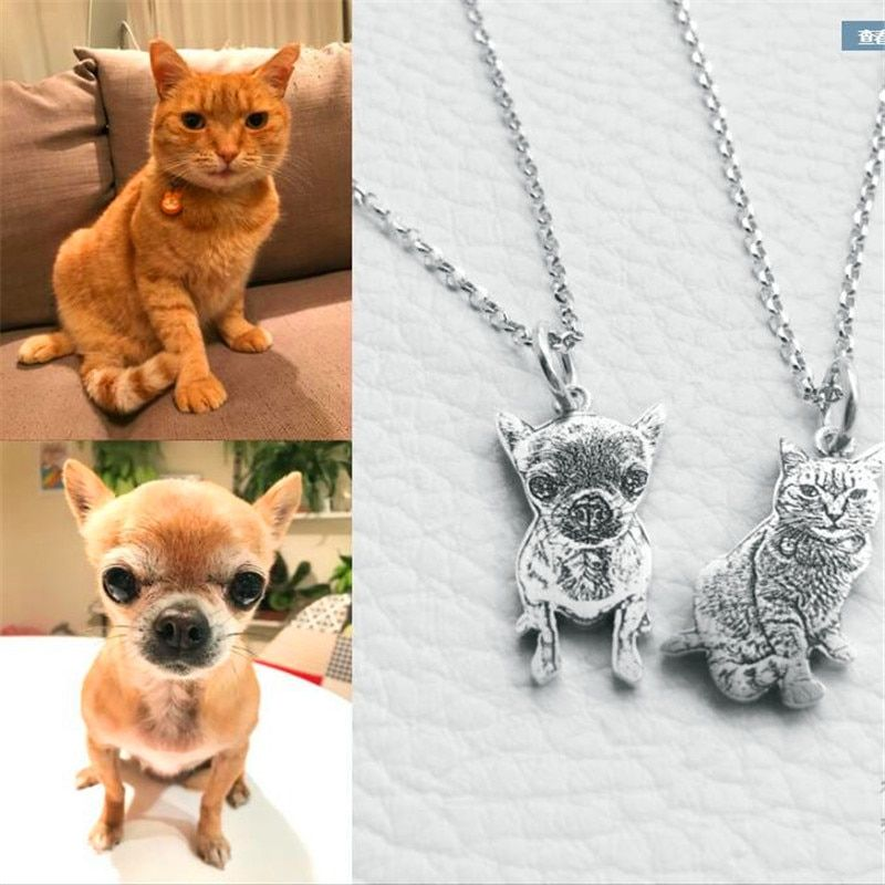 Private custom dog necklace Photo custom pet necklace animal jewelry 925 sterling silver Necklace for birthday gift