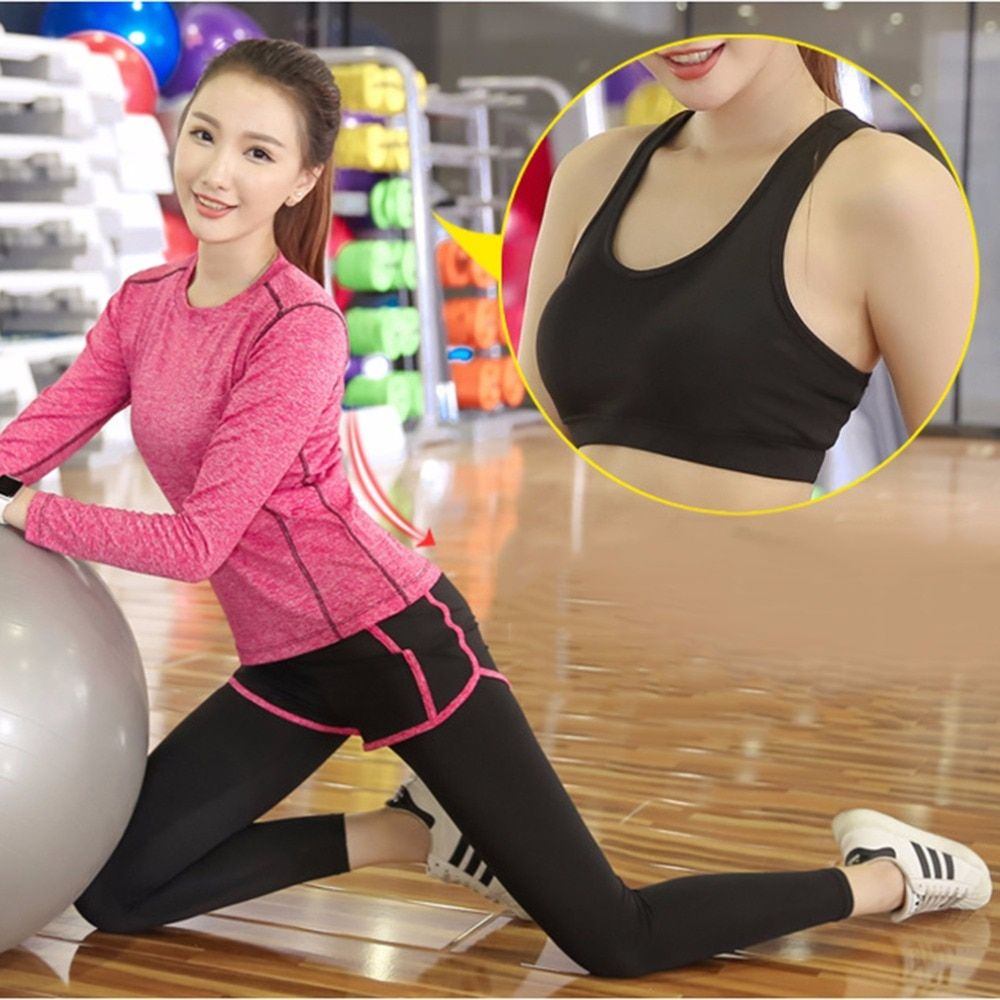 2017 NEW Quick Dry Woman Fitness Gym Sports Running Elasticity Yoga Suit Sets Pants Leggings Workout Clothing Tops And Vest