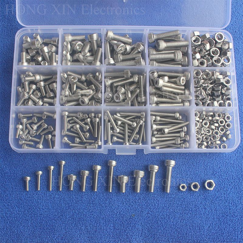 440pcs/set M3 M4 M5 Stainless Steel SS304 Hex Socket Cap Head Bolts Screws and Nuts Assortment Set Fastener Hardware