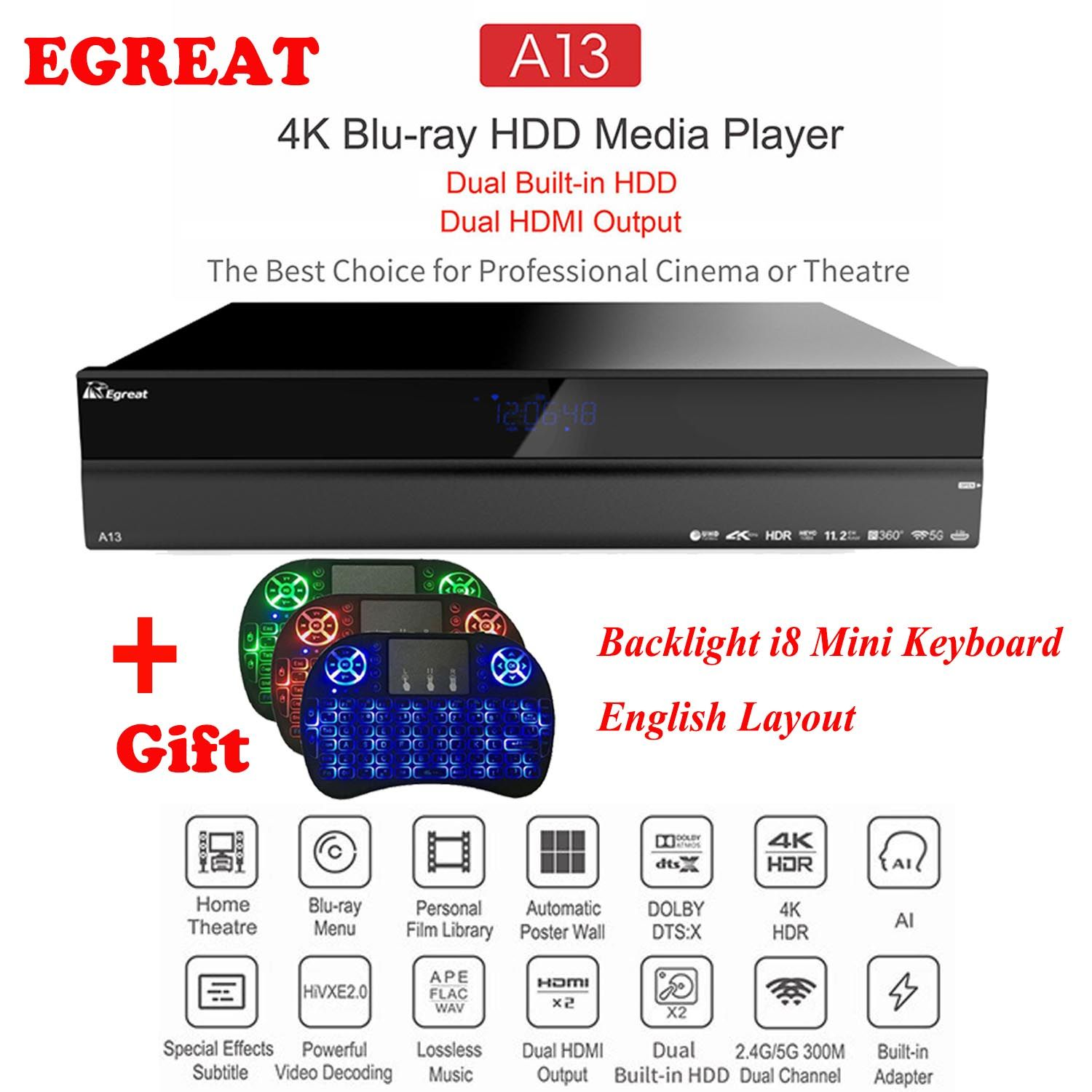 2019 High-end Home Theatre System Egreat A13 4 K UHD Blu-ray HDD Media Player, dual Eingebaute HDD, Dual HDMI Ausgang Android TV Box
