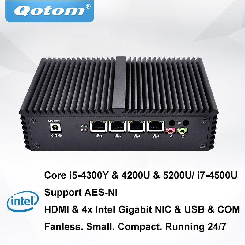 QOTOM Pfsense Mini PC mit Core i3 i5 i7 prozessor und 4 Gigabit NICs, unterstützung AES-NI, Serielle, fanless Mini PC PFSense