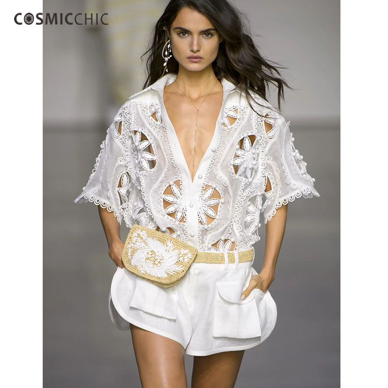 Cosmicchic Summer Women 2 Piece Shorts Suit Embroidery Beading Hollow White Shirt Set Designer Runway High Quality 2018 Fashion