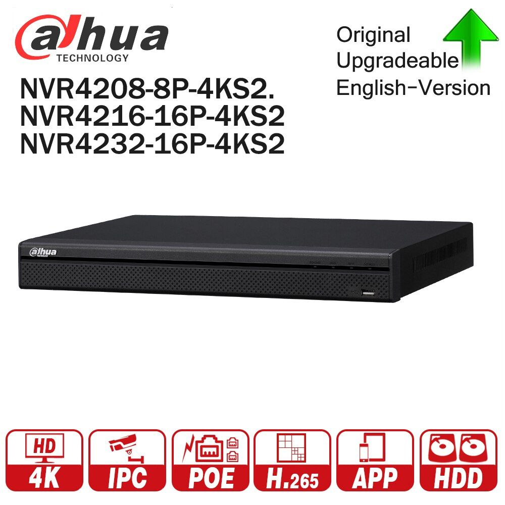 Dahua NVR4208-8P-4KS2 NVR4216-16P-4KS2 NVR4232-16P-4KS2 With PoE Port 4K Resolution H.265 for IP Camera Security System