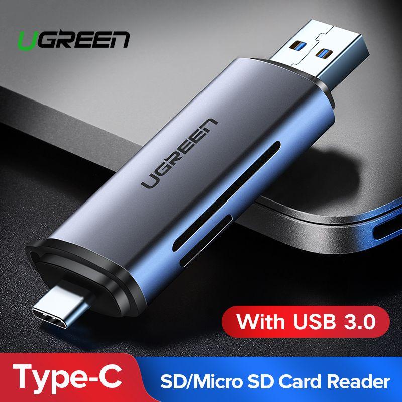 Ugreen Kartenleser USB 3.0 SD/Micro SD TF OTG Smart Memory Card Adapter für Laptop USB 3.0 Typ C Kartenleser SD Kartenleser