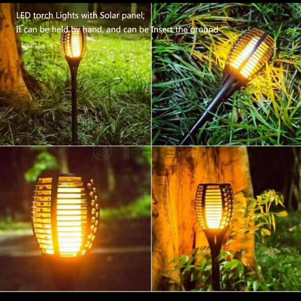 Hot Solar Flame Flickering Garden LED light IP65 outdoor Smart LED Torch Light With solar panel Garden Decor Lamp