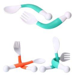 2 Pcs Fleksibel Sendok Garpu Set Adjustable Anak Belajar Piring Peralatan Makan