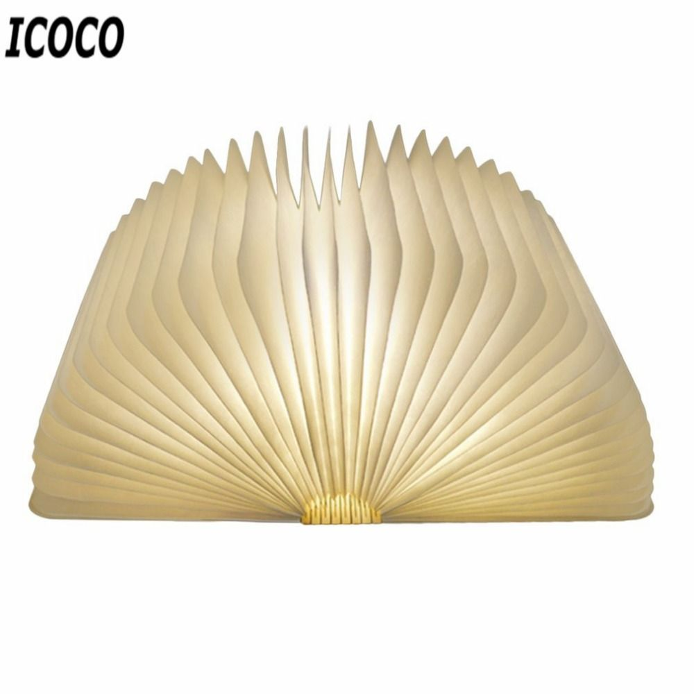 Icoco 5 В/1000ma инновационные светодиодные складной страниц деревянная книга Форма настольная лампа USB Перезаряжаемые складной Книга Чтение Night ...