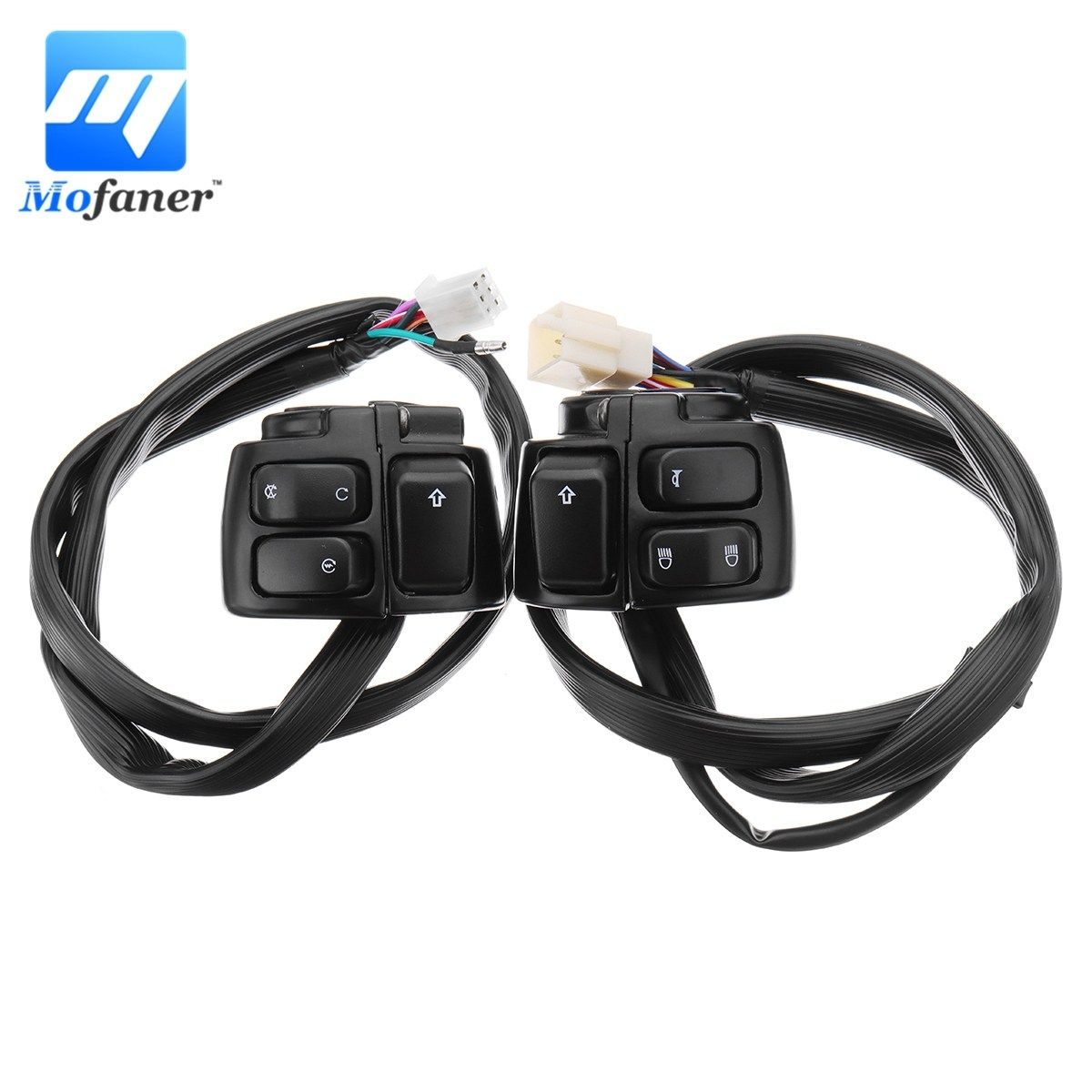 1 Pair Motorcycle 125mm Handlebar Control Switch Turn Signal Switch Button With Wiring Harness For Harley