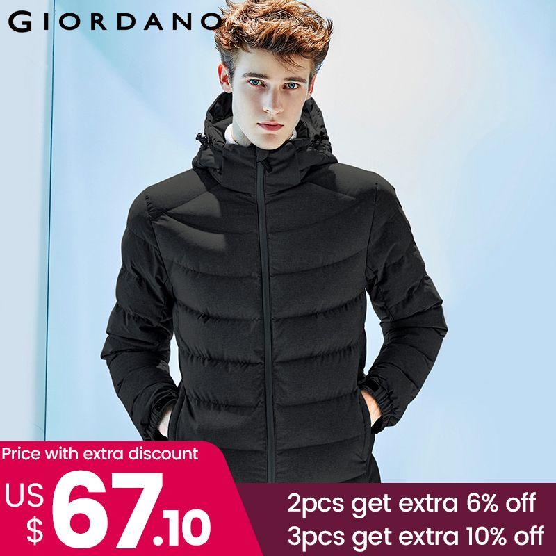 Giordano Männer Unten Jacke Männer 90% Inhalt Weiße Gans Unten Abnehmbare Unten Jacke Männer Qualität Warm Hood Zip Winddicht Mantel winter