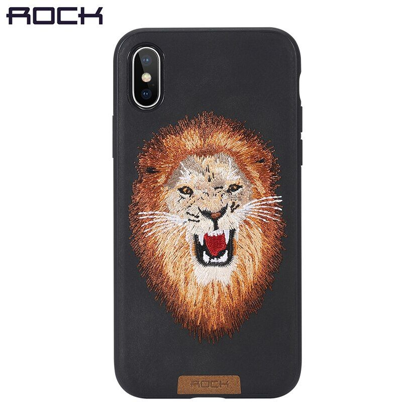For iPhone X Case, ROCK Slim Full Protective Beast Embroidery Phone Case For iPhoneX Back Cover Tiger Lion Leopard