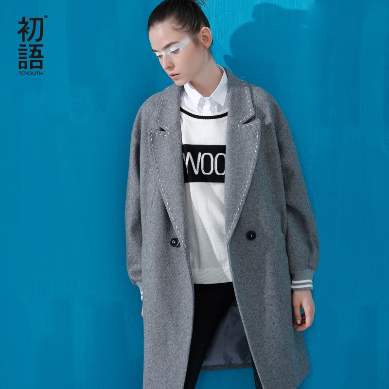 Toyouth British Style Jacket Wool Winter Coat Women Woolen Coat Pockets Single Breasted Button Square Collar Jacket Coat