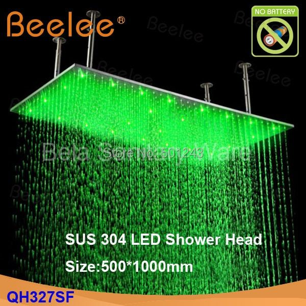 Free Shipping+Contemporary 20*40 inch Big Rain 304 Stainless Steel Shower Head with Color Changing LED Light