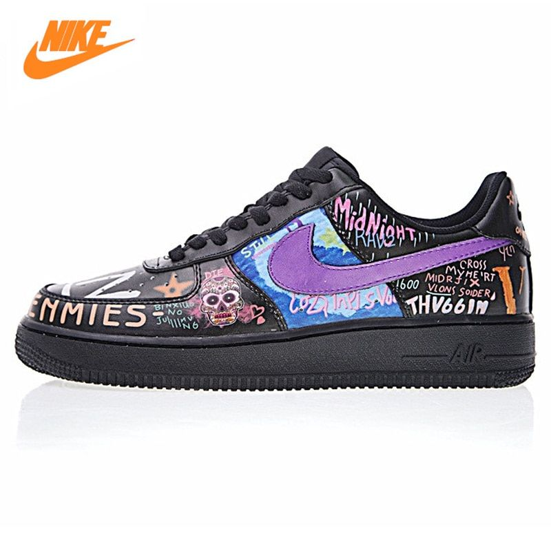 Nike Air Force 1 Low Men's and Women's Walking Shoes,Black & Purple,Shock Absorption Wear Resistant Breathable 923092 100