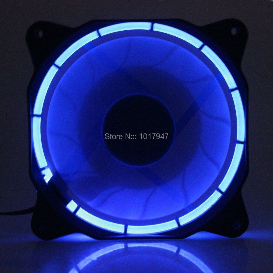 2 PCS lot 4Pin 12v 12025 120mm 12cm120MM*25MM Computer PC Blue LED Eclipse Cooling DC Fan