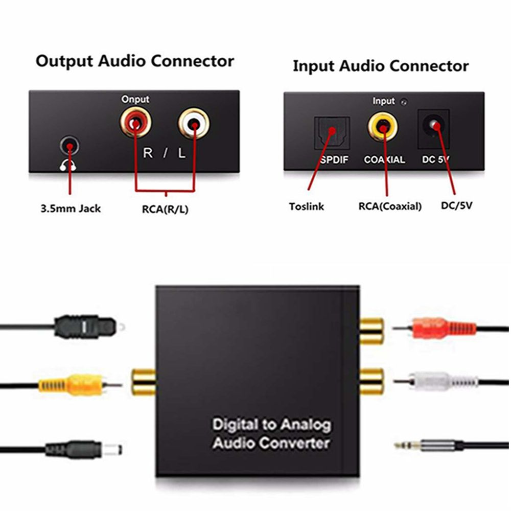 3.5mm Digital to Analog Audio Converter Amplifier Decoder Optical Fiber Coaxial Signal to Analog Stereo Audio Adapter