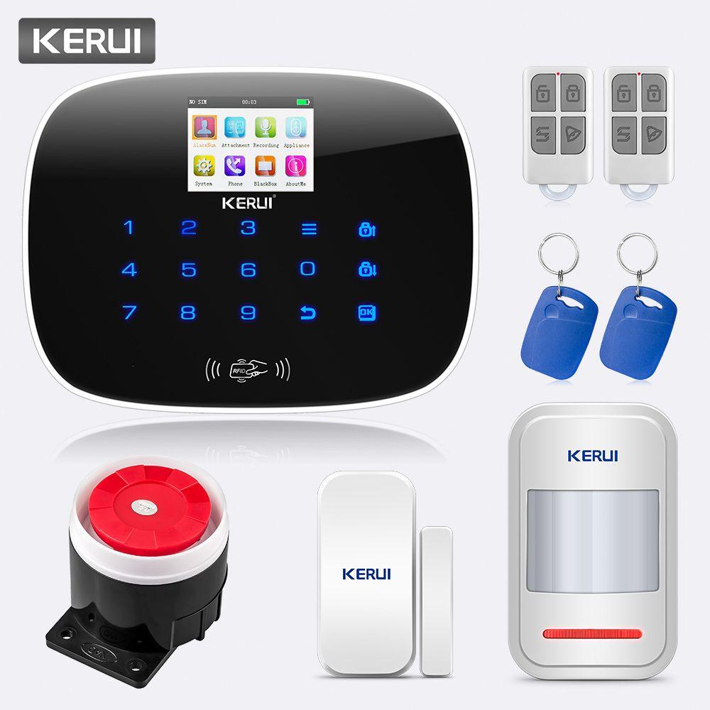 KERUI alarme antivol sans fil G19 GSM SMS RFID maison système d'alarme antivol sécurité WIFI APP HD caméra alarme de sécurité noir