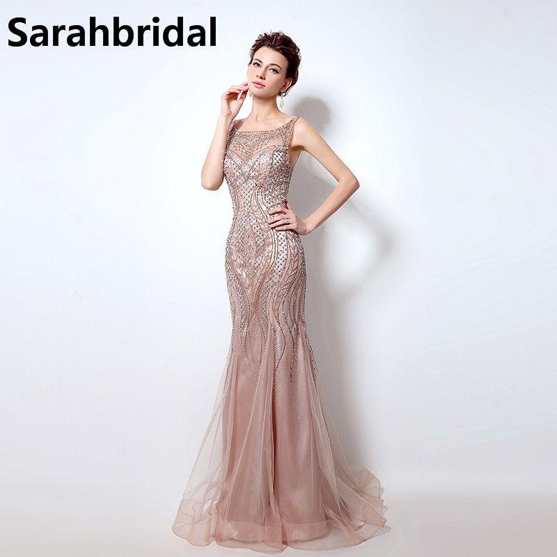 Blush Pink Mermaid Prom Dresses O Neck Beaded Crystals Long Tulle Vestido De Noiva Women Formal Celebrity Evening Gowns LX029