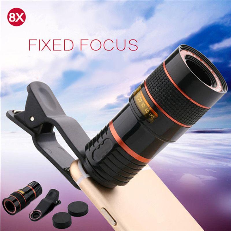 Universal 8X Zoom HD Télescope Optique Objectif Zoom Numérique Avec Clip pour Samsung pour HTC Mobile Cellulaire Téléphone Caméra Noir Portable
