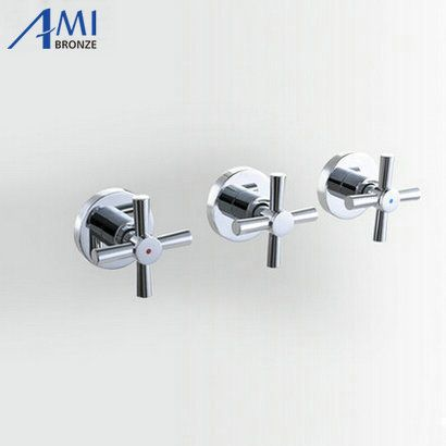 Shower Faucet Valve 3 Handwheel Four-way 2 Outlets Bathroom Bath Mixer Tap In-wall