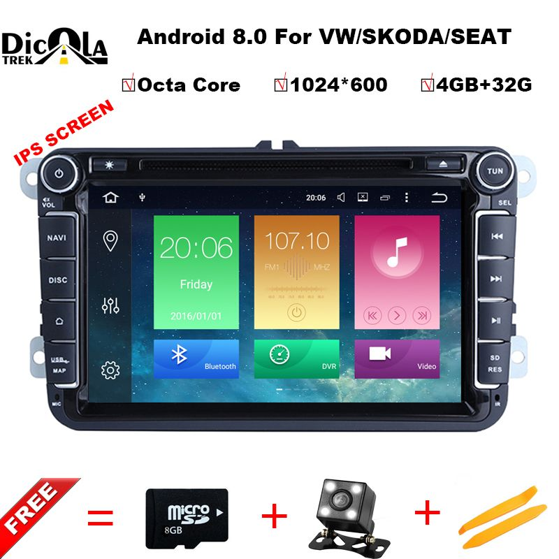 Octa Core 2 Din 8 inch Octa core Android 8.0 vw car dvd for Polo Jetta Tiguan passat b6 cc mirror link wifi Radio CD in dash