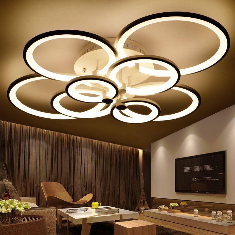 Кольца Белый закончил люстры led круг современная люстра светильники для гостиной акрил Lampara де TECHO indoor Освещение