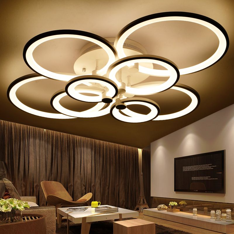 rings white finished chandeliers LED circle modern chandelier lights for living room acrylic Lampara de techo indoor Lighting