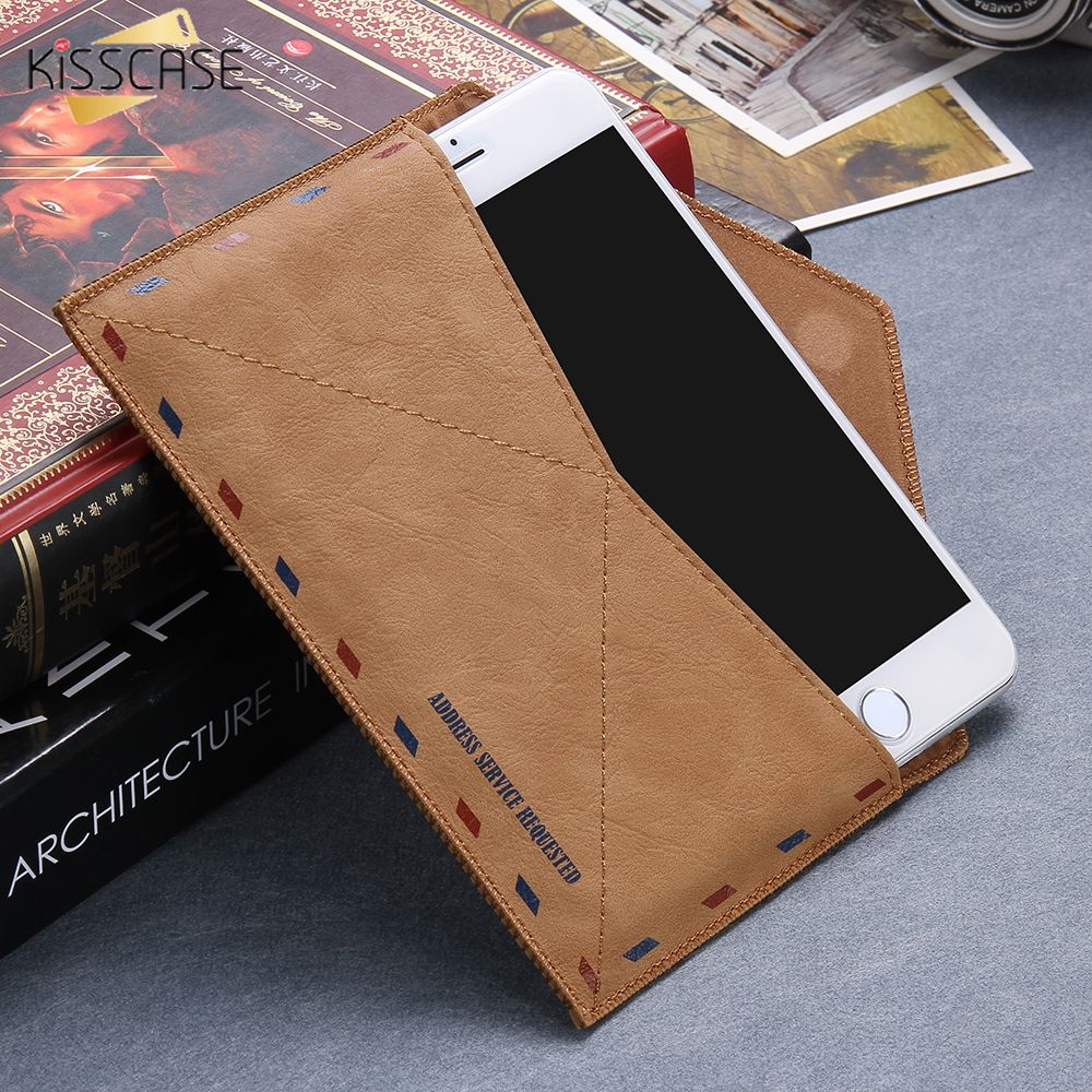 KISSCASE Enveloppe Universel Poche Portefeuille Cas Pour Samsung Galaxy S6 S6Edge S7 A5 Sac de Téléphone Cas Pour Iphone 7 7 Plus 6 S 6 Plus 5S