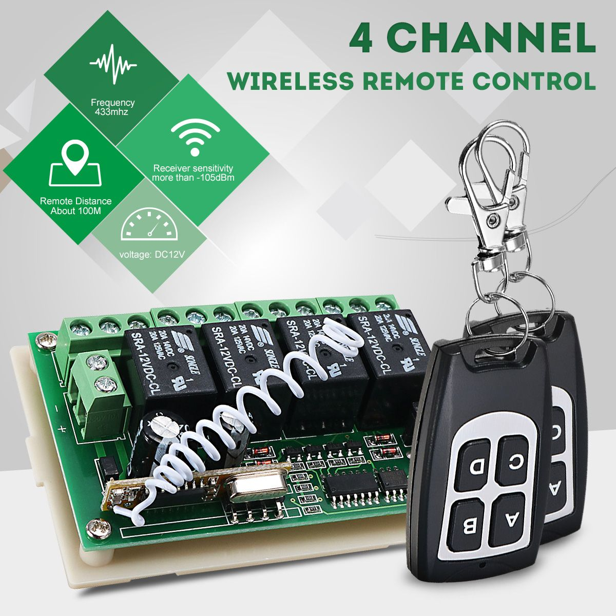 LEORY Universal Wireless Remote Control 12V 4CH Channel 433Mhz Switch Integrated Circuit 2 Transmitter DIY Replace Part Tool
