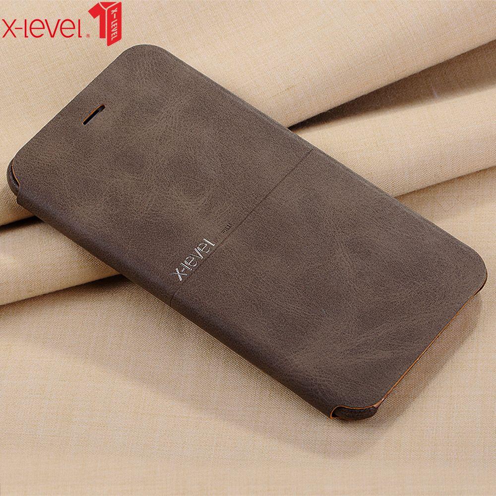 X-level pour iPhone 6 6S étui en cuir Ultra mince PU Flip Stand d'affaires téléphone couverture arrière pour iPhone 6 6S Plus étui