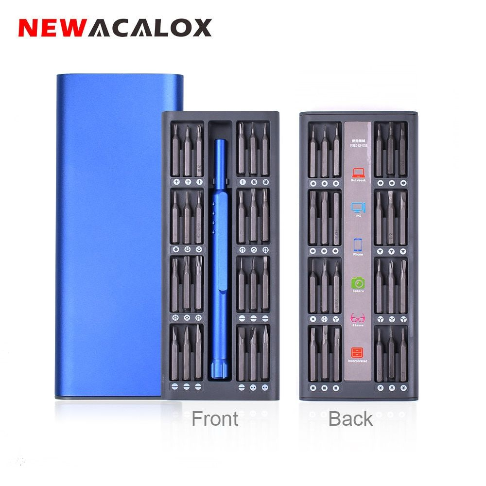 NEWACALOX Kit de réparation 48 en 1 jeu de tournevis magnétique multi-outils Kit d'outils de précision réparation montre de téléphone portable avec boîtier en alliage