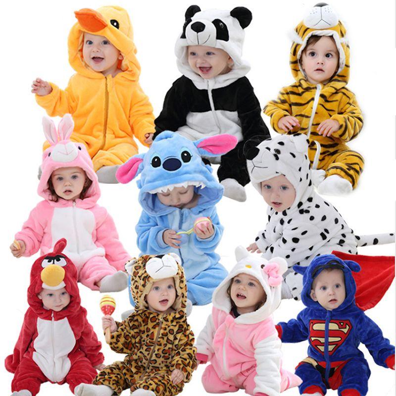 Dessin animé mignon flanelle bébé barboteuses nouveauté lapin coton bébé garçons filles Animal barboteuses point bébé ensembles kigurumi nouveau-né 2019