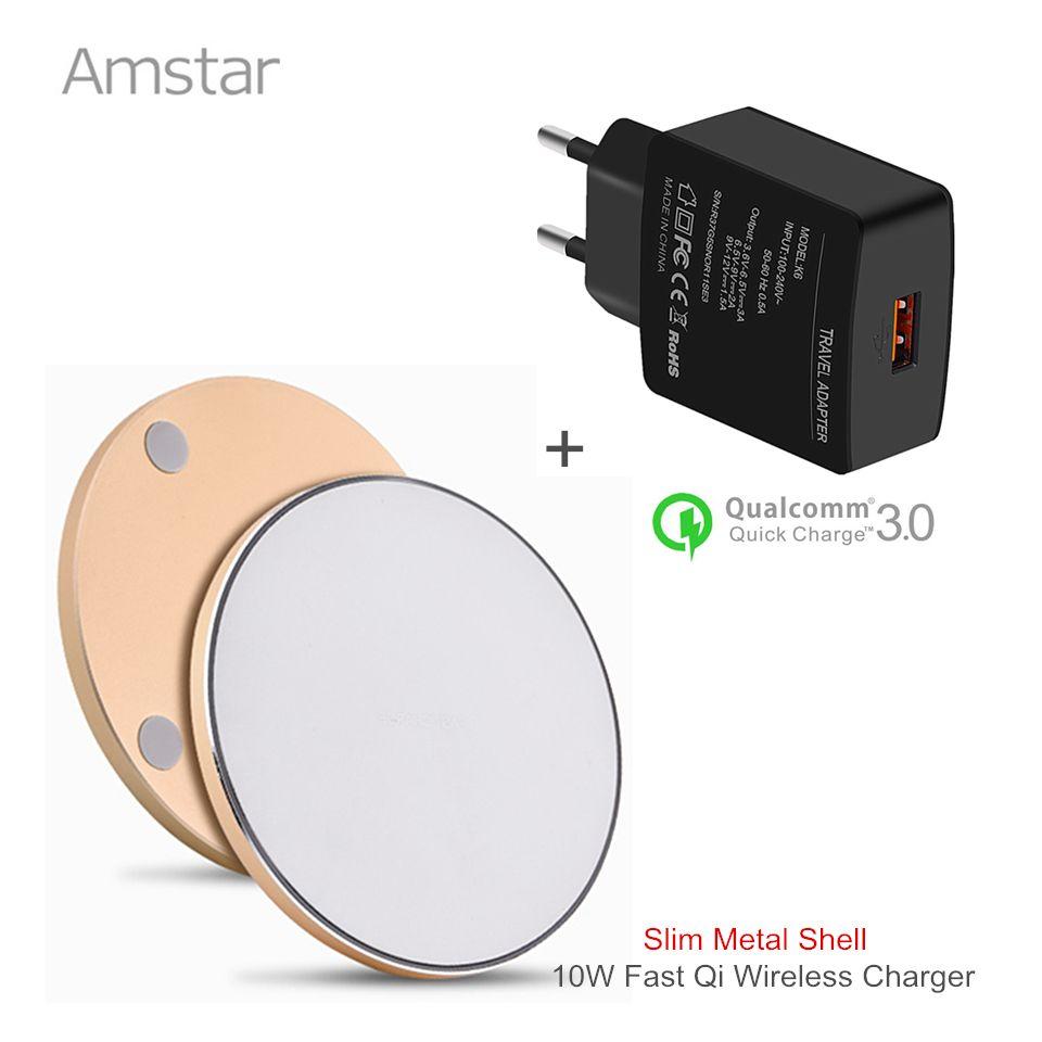 Amstar Qi Schnelle Drahtlose Ladegerät 10 Watt Schnelle Drahtlose Lade für Samsung S8 S8 + S7 Note8 5 + QC3.0 18 Watt USB Ladegerät Adapter